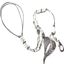 Beaded cord lanyard, long necklace, id badge, chain holder - Angel Wings silver