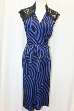 Diane von Furstenberg DVF Olivier Blue Purple Black Lace Back Wrap Dress 8 M