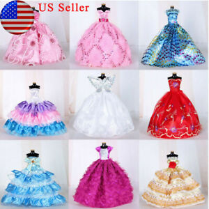 "9 PCs Doll Wedding Party Dress Princess Grown Handmade Long Dresses for 12"" Doll"