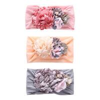 Baby Children Soft Elastic Nylon Headband Silk Flower Cute Princess Hair Band US