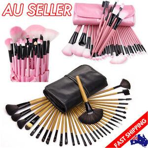 32Pcs Makeup Make Up Eyeshadow Powder Brush Set Cosmetic Tool Kit Leather Case
