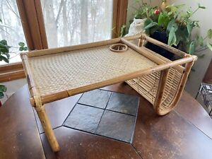 Vintage MCM Boho Rattan Bamboo Breakfast in Bed Lap TV Tray Table W Side Pocket