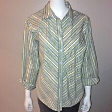 Foxcroft Button Down Shirt Size 14P Petite Womens Shaped Fit Green Striped