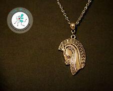 Halskette silberfarbig Anhänger trojanisches Pferd Pferdekopf