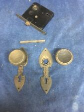 Vintage Cast Iron Gothic Spanish Tudor Door Knob Backplates  Mortise box Set