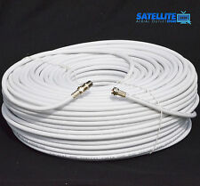 30m White RG6 Satellite Freesat Digital TV Aerial Sky Coax Cable + Fitted F plug