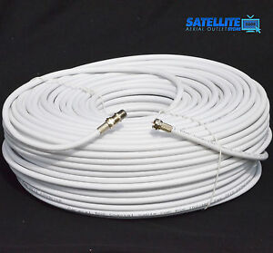 5m White RG6 Satellite Coax Cable For Sky Freesat TV Aerial + Fitted F plug