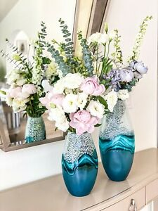 """Set of 2 Modern Green Mix Glass Vases 12""""H&17""""H, Elegant Flower Vases Home Decor"""
