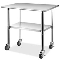 "36"" x 24"" NSF Stainless Steel Commercial Kitchen Prep & Work Table w/ 4 Casters"