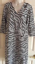 CHICO'S 3/4 Slv Mock-Wrap V-neck Stretch Black White Dress ~ Chico's Size 1 (8)