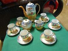 Vintage Japanese Lustreware TEA SET Tea Pot-Sugar & Creamer-6 Cups & Saucers