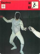 FICHE CARD:Cible au Sabre à l'Épée au Fleuret (Foil)  FENCING ESCRIME 1970s B