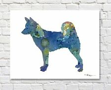 Canaan Dog Abstract Watercolor Painting Art Print by Artist Dj Rogers