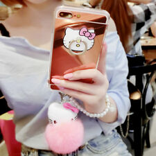 For iPhone 11 Pro XS Max 6 7 8+ Cute Hello Kitty Case Cover & Stand & Plush Ball