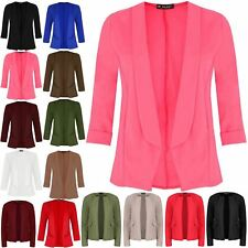 Womens Ladies Turn Up Short Sleeve Open Front Collar Stretchy Blazer Coat Jacket