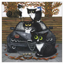 The Fiendish Feline Autumnal Funny Cat Greeting Card Tamsin Lord Humorous Cats