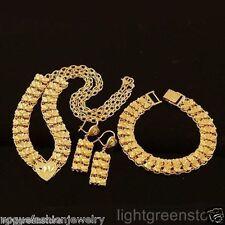 Womens 24k yellow gold filled necklace bracelet earrings set wedding jewelry new