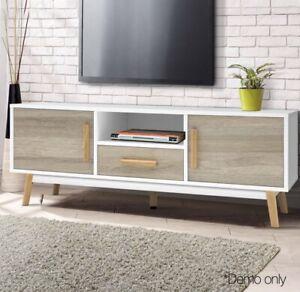 Warehouse 24 Wooden Entertainment Unit 120 cm - White