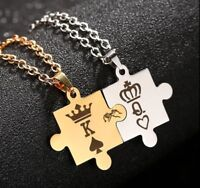 Couples Necklace for Women Men King Queen Relationship Matching stainless steel