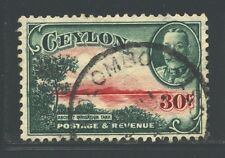 CEYLON 272 SG376 Used 1935 30c KGV Defin Ancient Reservoir Cat$4