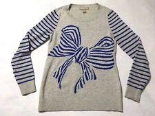 Banana Republic XS Heather Gray Blue Stripe Bow Graphic Sweater Wool Blend