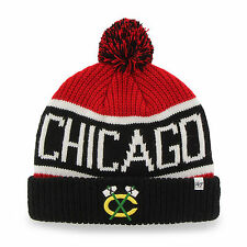 NHL Chicago Blackhawks Embroidered Jacquard Cuff Knit Hat with Pom by '47