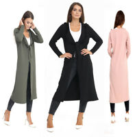 Womens Ladies Plus Size Long Sleeved Frill Neck Knot Duster Dress Jacket Coat