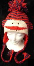ADULT deLux SOCK MONKEY HAT stripe KNIT red blue NWT animal costume FLC LINED