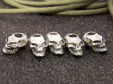 5 J&S PEWTER SKULL BEADS FITS 550 PARACORD LANYARDS LARGE TOP HOLE xm-18,