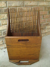 ANTIQUE WOOD CRANBERRY SCOOP BUCKET VTG WOODEN MAGAZINE HOLDER? PRIMITIVE RAKE