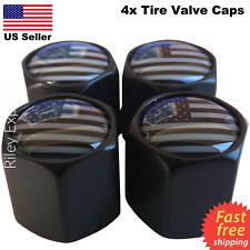 4x Wheel Tire Valve Cap Stem Cover For Car, Bike, Trucks Subdued American Flag