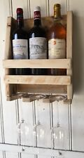 Etagére pour 3 bouteilles de vin et 3 verres en bois BRUT-création unique