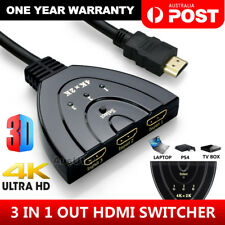 4K Ultra HD 3 Way HDMI Switch Splitter HDTV Auto 3 Port IN 1 OUT with 0.5M Cable