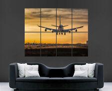 BOEING 747 AEROPLANE POSTER AIRPORT LANDING  PRINT ART WALL LARGE IMAGE