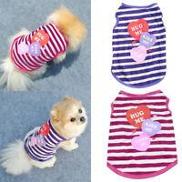 KM_ FT- Pet Puppy Dog Summer T-Shirt Small Cat Clothes Stripes Heart Vest Appa