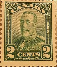 CANADA STAMP 2 CENTS GEORGE V GREEN
