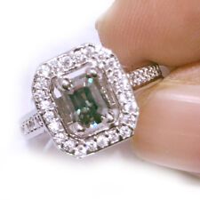 3.14ct VVS1+GORGEUOUS BROWN GREEN EMERALD MOISSANITE & WHITE SILVER RING