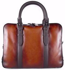 Araldi 1930 Leather Slim Patina Handmade Briefcase Bag Berluti Corthay