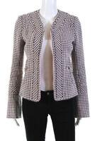 Tuleh Womens Open Front Tweed Blazer Jacket Black Pink Size 4
