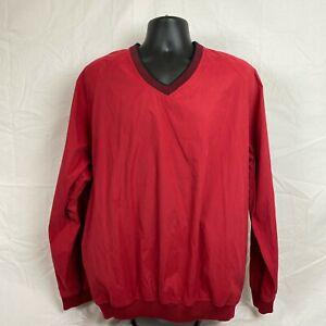 Scottish Winds Mens V Neck Long Sleeves Pullover Red Nylon Polyester Size Large