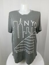 Mighty Fine Trendy Plus Size NYC Graphic Tee Shirt 2X Heather Grey #2953