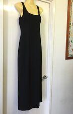 Rockmans Size 8 Long Black Fitted Evening Dress Formal Scoop Neck & Back