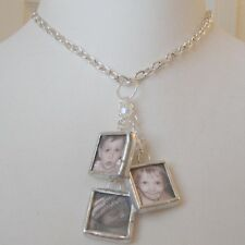 Custom keepsake multi photo glass charm dangle necklace picture jewelry mom gift