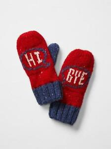 New Gap Kids Girl Graphic Greetings Nepped Knit Wool Winter Mitten Gloves S M