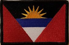 ANTIGUA Flag Iron-On Patch Tactical Morale Emblem Black Border