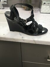 THEORY Women's Black Patent Leather Wedge Shoe Euro 39 US 8.5