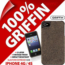 Griffin Elan Forma Custodia Guscio Cover Pelle Invecchiata Finish Per iPhone 4/