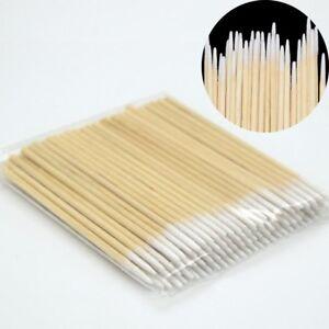 100PCS Wooden Sticks Cotton Swabs Pointed Swab Applicator Q-tips Applicato New