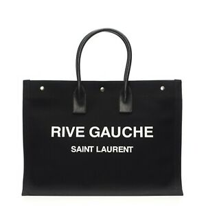 SAINT LAURENT 1250$ Black Cotton Rive Gauche Tote Bag