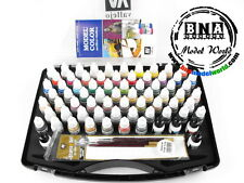 Vallejo #70172 Acrylic Model Color Paint Set - 72 Basic Colours +3 Brushes +Case